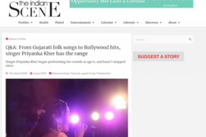 TheIndianScene magazine features Priyanka Kher. She is a Singer from gujarat based in Michigan USA. She sings from gujarati folk songs to bollywood songs.